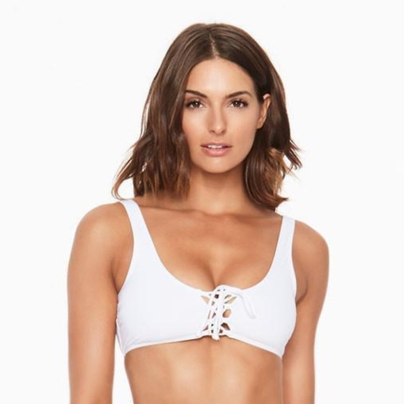 0d8df943a4 L Space Swim White ROMI Lace Up Bikini Top
